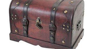 HMF 6403 140 Schatztruhe aus Holz mit Schloss 40 x 310x165 - HMF 6403-140 Schatztruhe aus Holz mit Schloss | 40 x 23 x 27 cm | Groß | Kambodscha